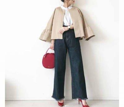 赤小物のスパイスを。ワイドデニムは小悪魔に着る #東京365日コーデ