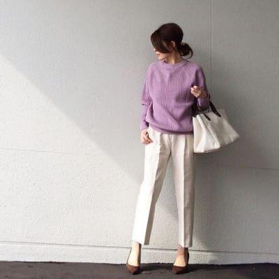 春らしさいっぱい。ラベンダーニットが主役のお仕事スタイル #東京365日コーデ