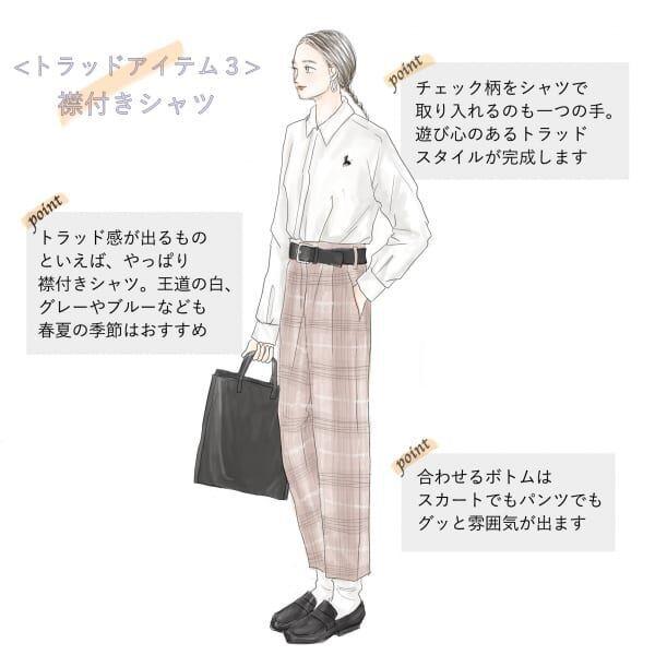 トラッドスタイルの代表アイテム「襟付きシャツ」