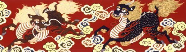 長刀鉾下水引「緋羅紗地 五彩雲麒麟図 刺繍」 2008年復元 公益財団法人長刀鉾保存会蔵