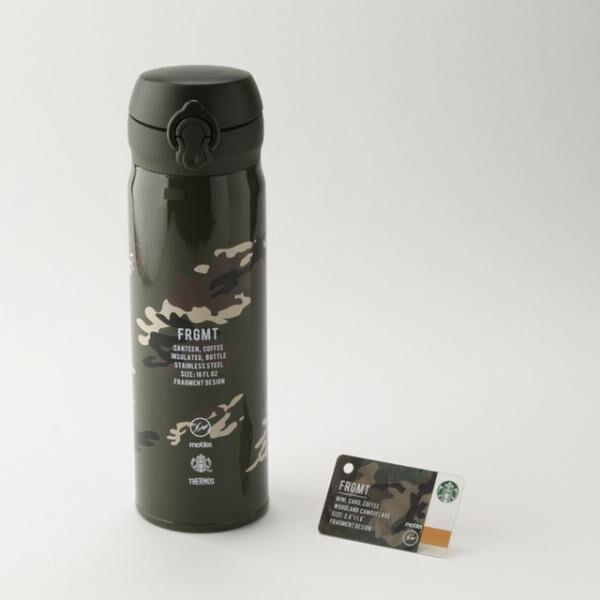 「フラグメント デザイン」と「モーデザイン」が共同でプロデュースした、ハンディーステンレスボトル(4,900円)とミニスターバックスカード