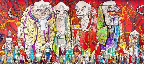 村上 隆 《五百羅漢図》(部分) 2012 年アクリル、カンバス、板にマウント 302 x 10,000cm 個人蔵