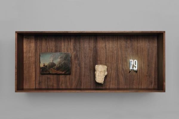 79, Pompeii Eruption Cabinet in walnut wood, oil on wood, white marble, neon 45 x 110 x 30 cm Photo : Pierre Antoine Courtesy : Galerie Perrotin, Paris.(c)Laurent Grasso / ADAGP, Paris, 2015
