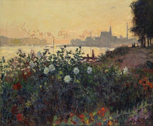 クロード・モネ《花咲く堤、アルジャントゥイユ》 1877年 ポーラ美術館蔵