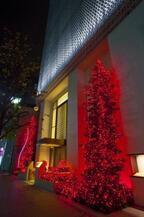 資生堂、2年振りのイルミネーション。赤いクリスマスツリー点灯