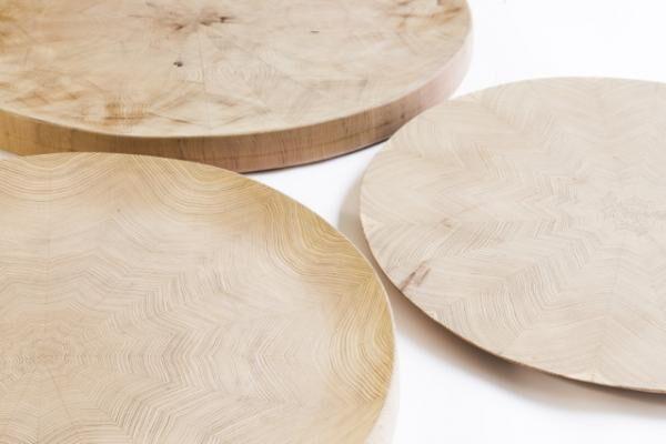 'Big Trays of parquetry', wood japanese cedar, 20 x 20 x 1 cm. 3 pieces. 2015