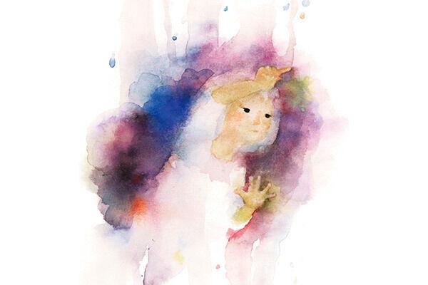 いわさきちひろ窓ガラスに絵をかく少女 『あめのひのおるすばん』(至光社)より1968年