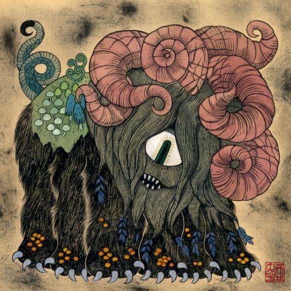 石黒亜矢子「 森獣」(しんじゅう) 和紙/墨・顔料・水彩絵の具・パステル SSM(227×227)