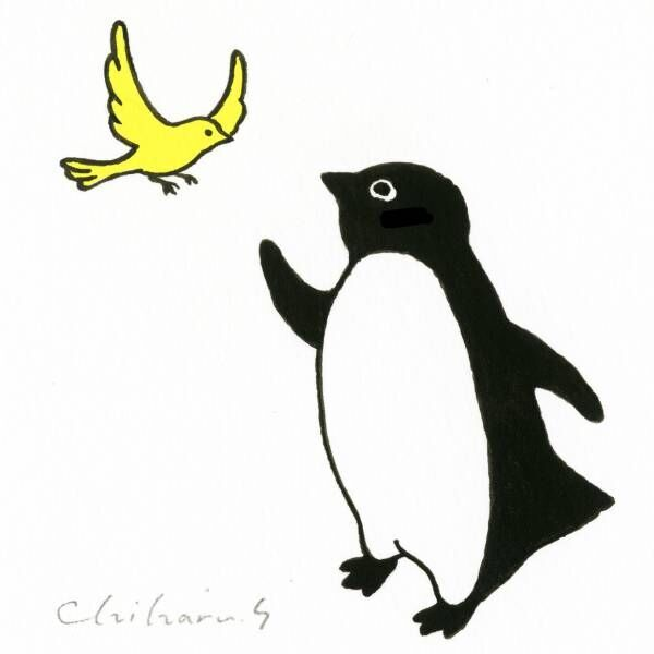 Suicaのペンギンでお馴染み、坂崎千春のペンギン原画100点が新宿伊勢丹に! 新作も登場