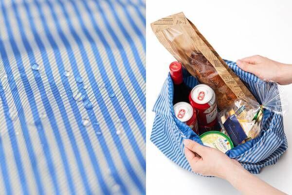 防撥水加工が施されているため、保冷剤や冷たい食品・飲料を入れても水滴が染みず、汚れても洗いやすい。
