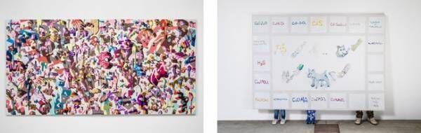 左)山口聡一「Overlap of paint (dot3)」 右)磯村暖「一時的に犬、一時的に人、一時的に絵」
