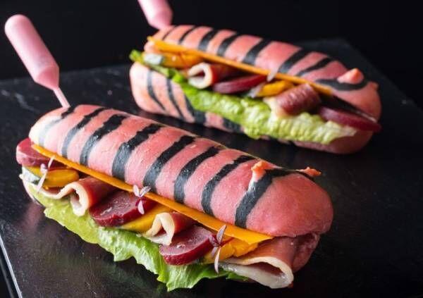 虎ノ門ヒルズ店限定の虎柄サンドイッチ第2弾は フランス産鴨の生ハムを挟んだ 鮮やかなピンクの「虎サンド」