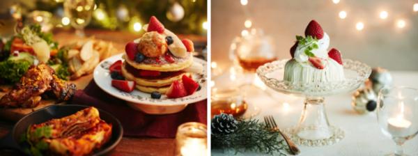 ▲左)クリスマスパーティーBOX、右)ホワイトチョコとクリームチーズのパンケーキ