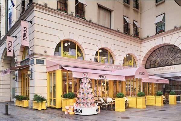 ブランドのシグネチャーカラーで統一された店内。フェンディとアニヴェルセルカフェが期間限定のコラボ