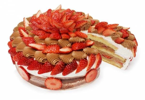 カフェコムサが優しい甘みで希少な白いちごを使用した限定デザインのショートケーキを発売
