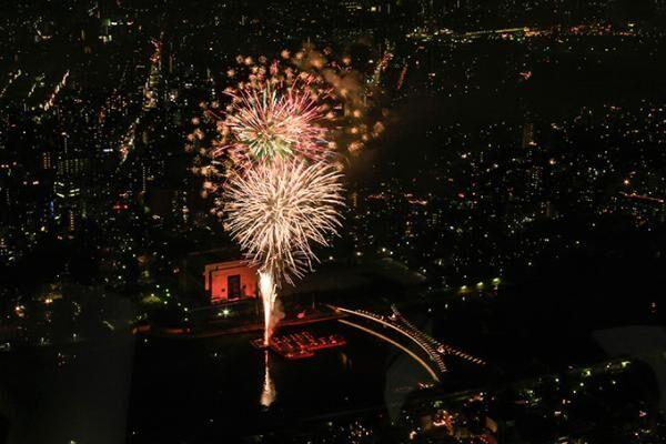 東京スカイツリーの展望台から、隅田川花火大会を観覧 - レストランでコース料理も