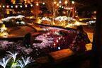 「夜桜fantasy」お台場・大江戸温泉物語×プロジェクションマッピング、桜が映し出された足湯で花見