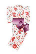 リリー ブラウンから初の浴衣、ネイビー&ホワイトのオリエンタルな花柄 - お揃いの髪飾りやピアスも