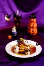 大阪・ブラザーズカフェのハロウィン限定パンケーキ、クモの巣チョコやメレンゲおばけをトッピング