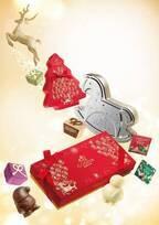 ゴディバの17年クリスマス - サンタやトナカイ型チョコをツリー型ボックスに詰め合わせ