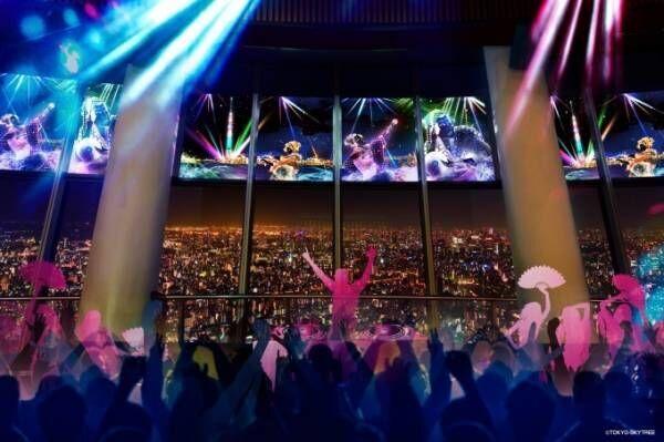 東京スカイツリー 地上350mにディスコ空間出現、歌川国芳の浮世絵世界と東京の夜景がコラボ