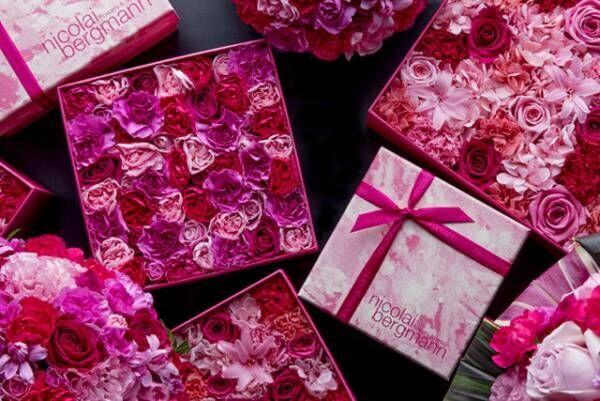 ニコライ バーグマン春限定フラワーボックス、ピンクのグラデーションを生むバラ×カーネーション