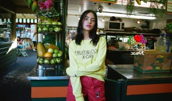 X-girlがフルーツオブザルームとコラボ、ヴィヴィッドカラーのTシャツやスウェット