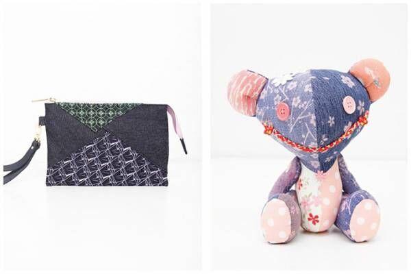 京都デニムから女性向け春小物 - さくら咲くくまぬいぐるみやポーチなど全て1点もの