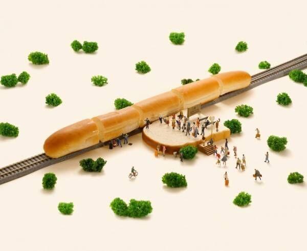 「MINIATURE LIFE 展 田中達也 見立ての世界」京都髙島屋で、パンのミニチュア新幹線など