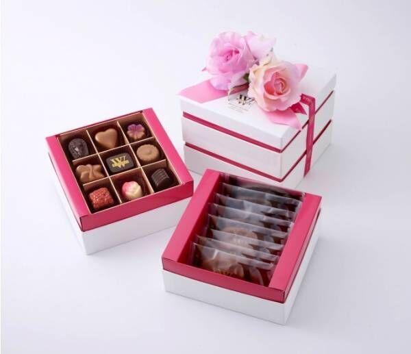 ベルギー王室御用達ヴィタメールの母の日ギフト、カーネーション付きBOXに入ったチョコアソート