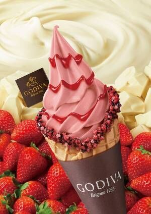 ゴディバの限定プレミアムソフトクリーム、甘酸っぱいストロベリー×贅沢チョコレート