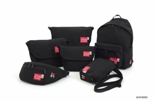 マンハッタン ポーテージ35周年限定バッグ「I♡NY」ロゴとアメリカの星条旗を配して