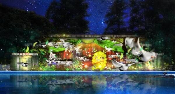 としまえん「ナイトプール×プロジェクションマッピング」夜のプールをネイキッドが光と音楽で演出
