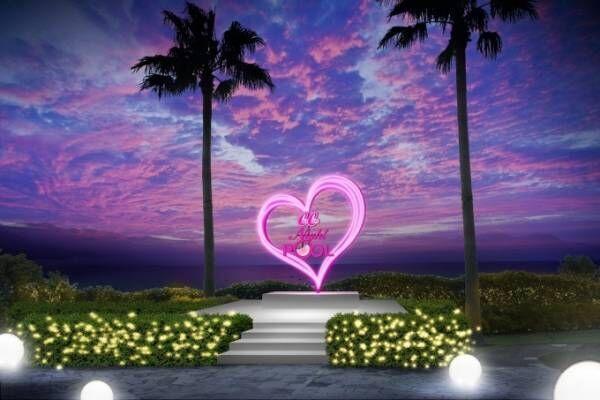 グランドプリンスホテル広島のナイトプール、貝殻やユニコーンの浮き輪が浮かぶ夢の島