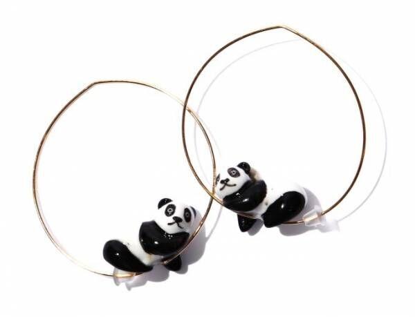 """ナッシュから陶器の""""動物""""アクセサリー - パンダが遊ぶフープピアスや、フラミンゴのリング"""