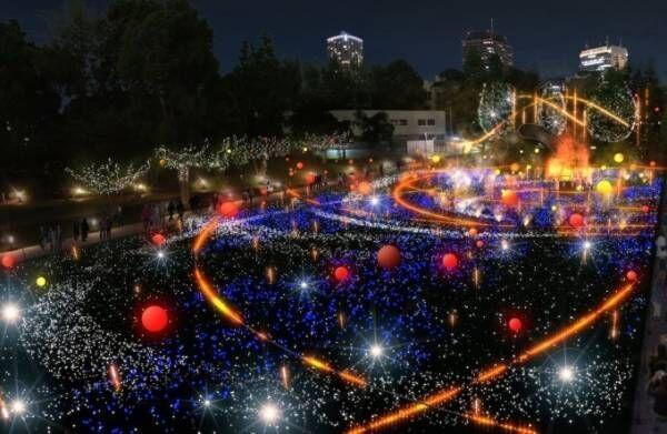 東京ミッドタウンのクリスマスイルミネーション、しゃぼん玉&ミストで幻想的な宇宙を表現