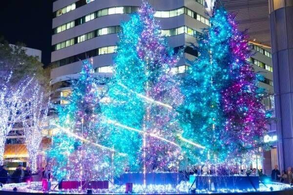 東京ミッドタウン日比谷の初イルミネーション、宇宙を表現したクリスマスツリー&季節で変わるライトアップ