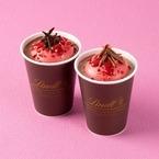 リンツ ショコラ カフェ、バレンタイン限定「ストロベリーマシュマロ ホットチョコレートドリンク」