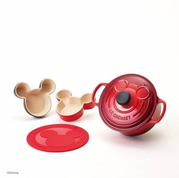 ル・クルーゼよりディズニー・ミッキーマウスの限定キッチンアイテム、フタにシルエットを施した鍋など