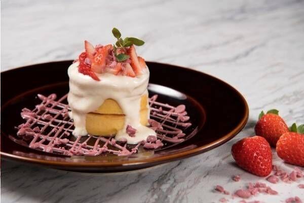 マックス ブレナー、静岡の希少イチゴ「きらぴ香」×ルビーチョコレートの限定パンケーキ