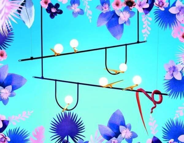 """""""つばめ""""のような照明「イェンツー」止まり木にとまった鳥をイメージ"""