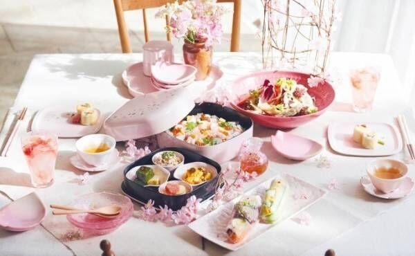 アフタヌーンティー・リビング、桜×伝統工芸の春色テーブルウエア - 淡いピンクの器やグラスなど