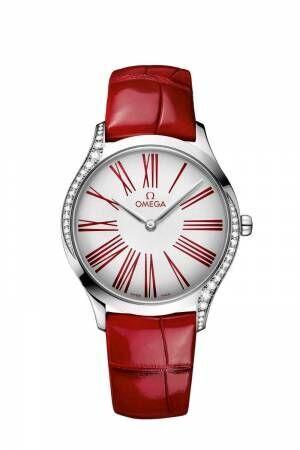 オメガ「トレゾア」新作レディース腕時計 - 鮮やかな赤×白のコントラスト、ダイヤモンド38石を配置