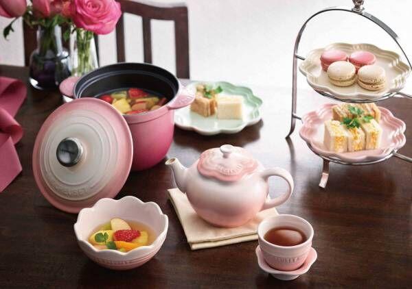 """ル・クルーゼ""""花モチーフ""""のキッチンウェアに限定色、「ブーケピンク」のココット・エブリィ鍋など"""