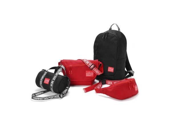 マンハッタン ポーテージの限定バッグ「アイデント II」黒&赤、ストラップにジャガード織りのロゴ