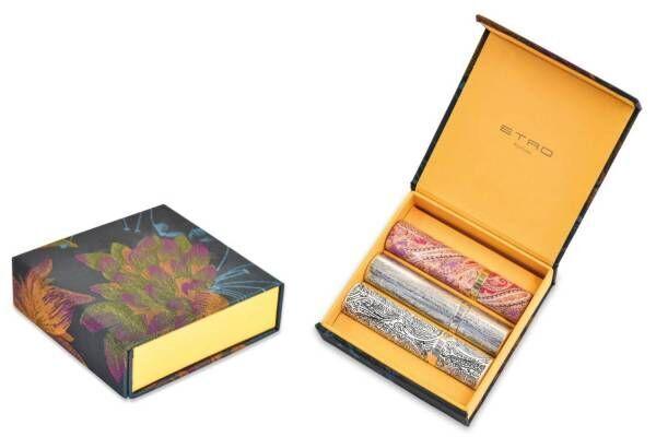 エトロ「ペイズリー柄」のフレグランス、3つの香りを世界に1つだけのボックスにセット