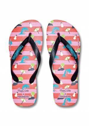ハッピーソックス×ハワイアナスのビーチサンダル、夏×冬MIXモチーフの足袋ソックスとセットで