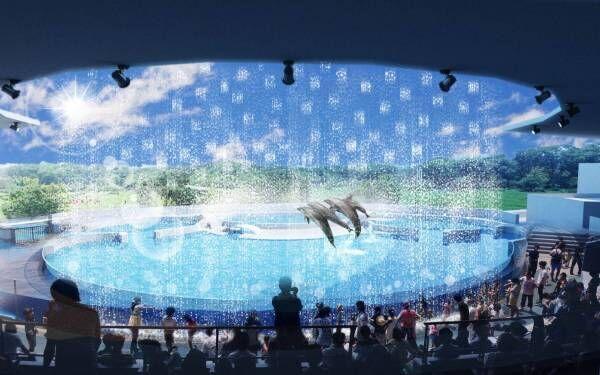 京都水族館の夏限定アトラクション「バッシャーン!!」水のカーテンやイルカパフォーマンスでずぶ濡れに