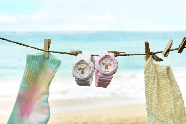 """BABY-G""""タイダイ柄""""の新作腕時計、パステルカラーのグラデーションを配した文字盤"""