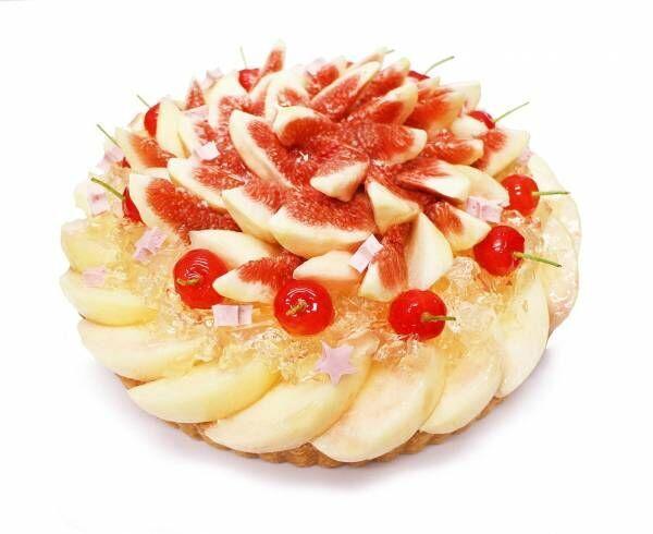 """カフェコムサの織姫と彦星をイメージした""""七夕""""ケーキ - 桃やメロン、マンゴーなど旬の果実で"""
